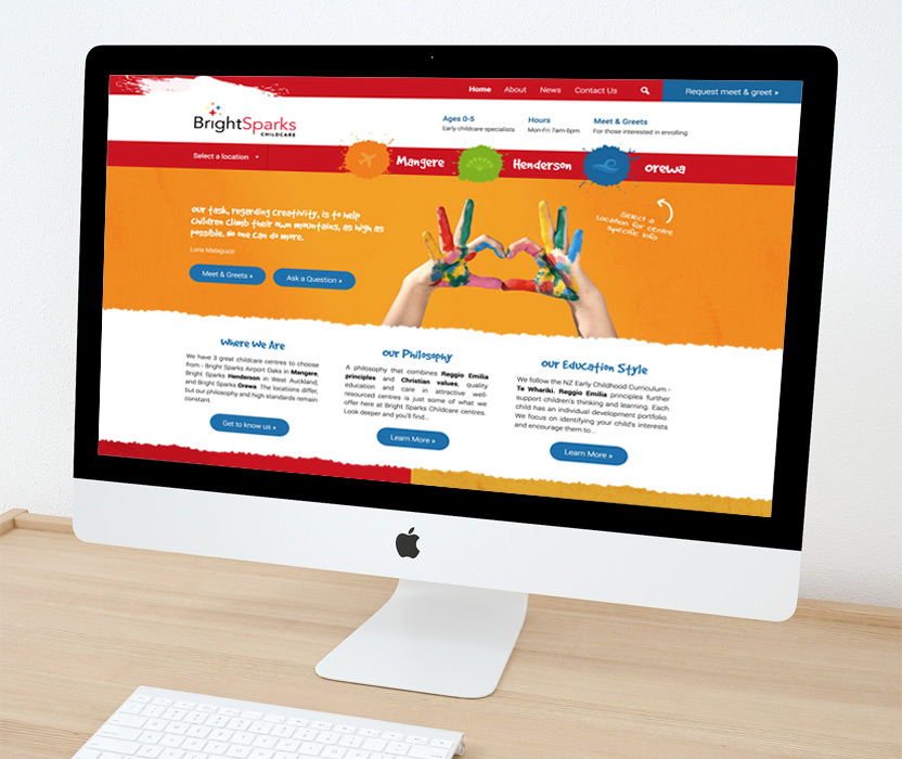 Evolve Marketing Agency client example - Bright Sparks website