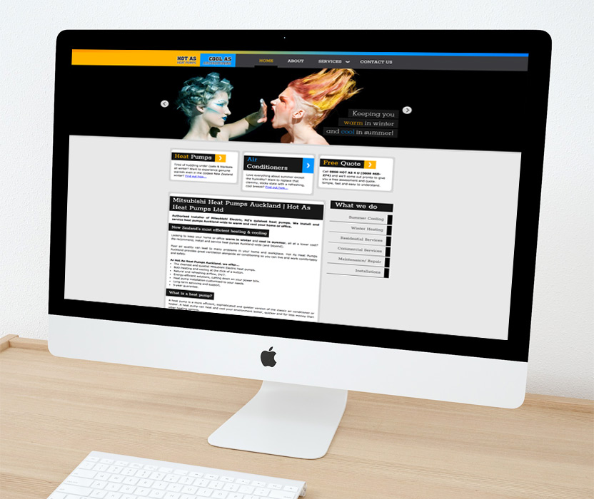 Evolve Marketing Agency client example - Hot As website