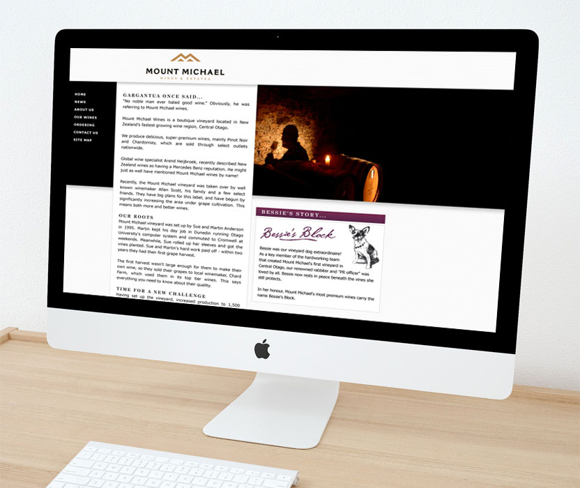 Evolve Marketing Agency client example - Mount Michael website
