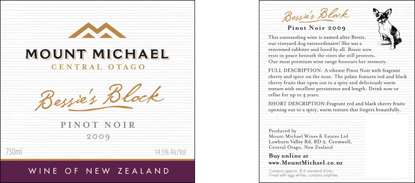 Evolve Marketing Agency client example - Mount Michael wine labels