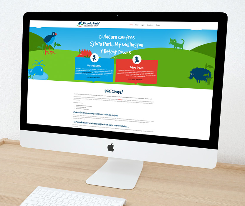 Evolve Marketing Agency client example - Piccolo Park website